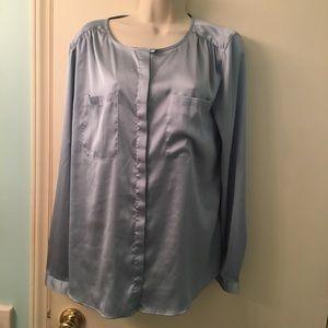 Baby blue silk button down blouse